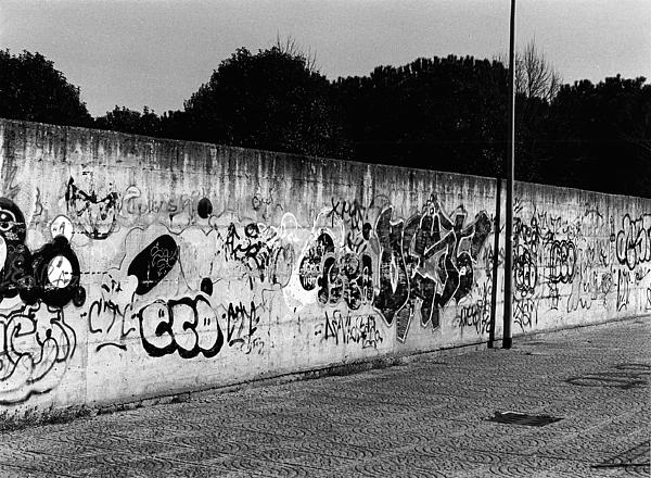 Graffiti In San Basilio Block Photograph - Graffiti In Rome by Luca Rosa