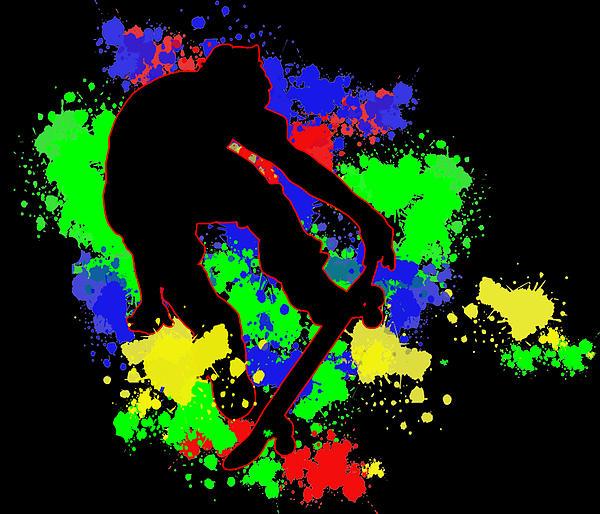 Graffiti Paint Splotches Skateboarder Painting by Elaine Plesser