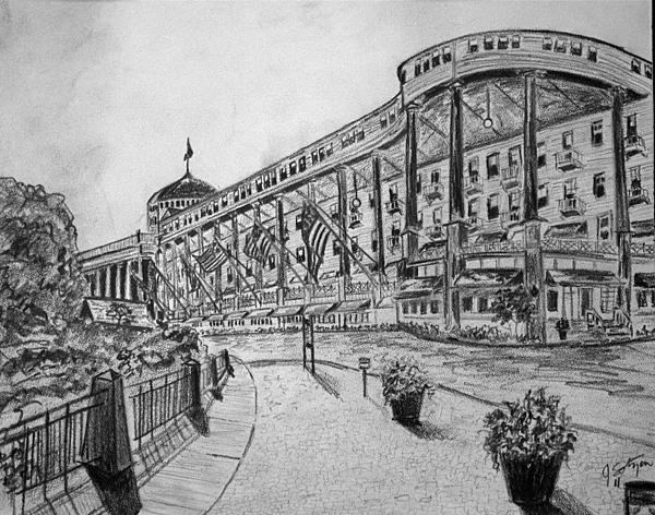 Building Drawing - Grand Hotel On Mackinac Island by Jason Sotzen