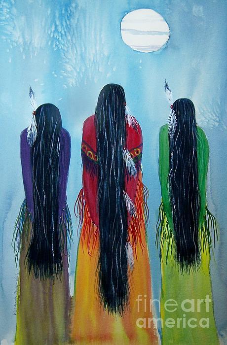 Watercolors Painting - Grandmothers Come Singing by Elizabeth  Webb