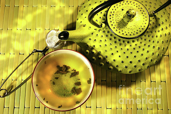 Asia Photograph - Green Asian Teapot With Cup  by Sandra Cunningham