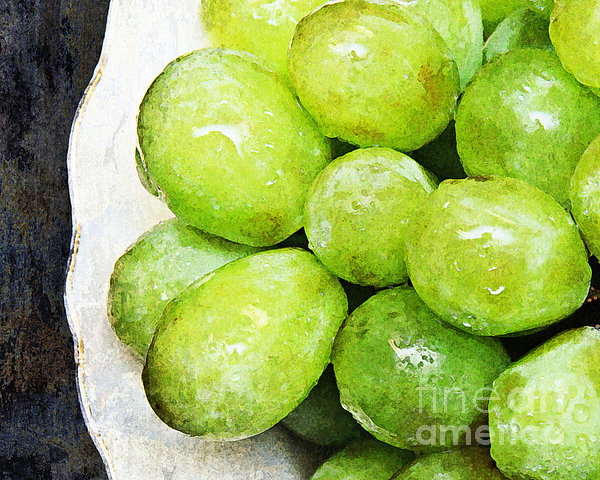 Grapes Photograph - Green Grapes On A Plate by Andee Design