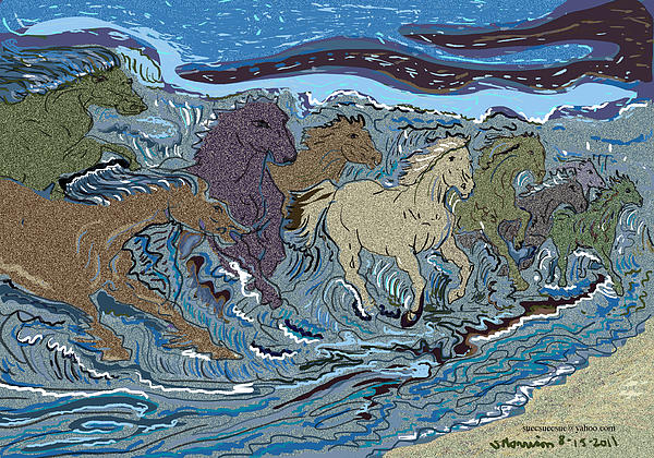 Not Neptune's Horses Drawing - Green Horse Wave by Susie Morrison
