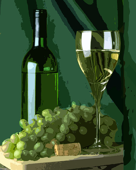 Wine Painting - Green Is White by Elaine Plesser