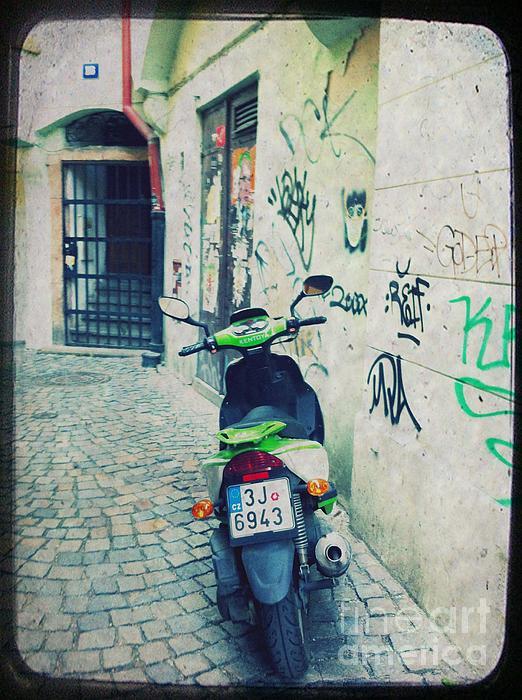 Vespa Mixed Media - Green Vespa In Prague by Linda Woods