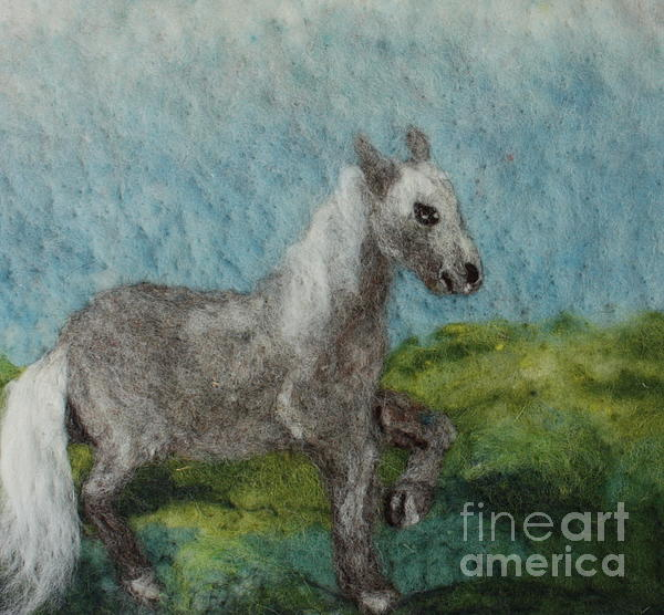 Needle Tapestry - Textile - Grey Horse by Nicole Besack