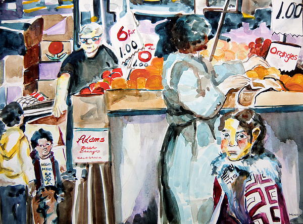 Farmer's Market Painting - Grocery Shopping by Mindy Newman