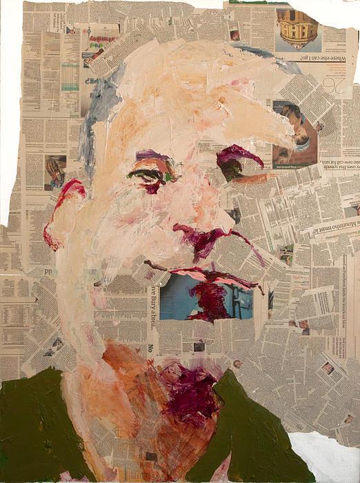 Geoff Stein Mixed Media - Guardian Self-portrait by Geoff Stein