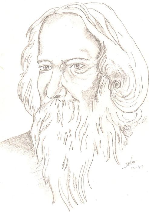 Gurudev Robindranath Tagore Drawing by Archana Saxena
