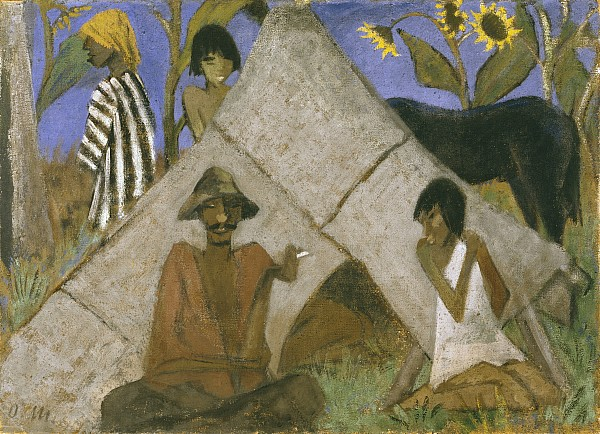 Gypsy Painting - Gypsy Encampment by Otto Muller or Mueller