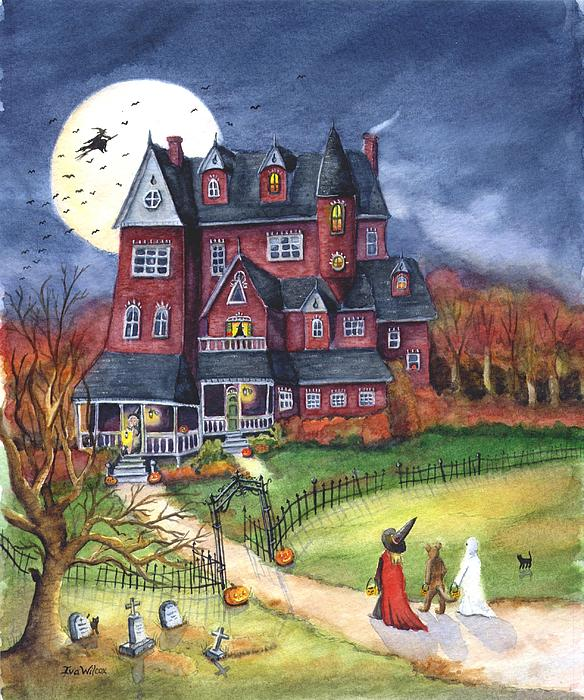 Halloween Painting - Halloween Haunted Mansion by Iva Wilcox