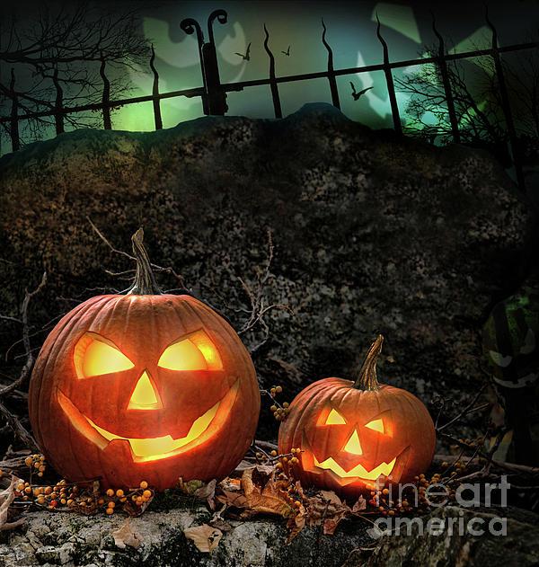 Autumn Photograph - Halloween Pumpkins On Rocks  At Night by Sandra Cunningham