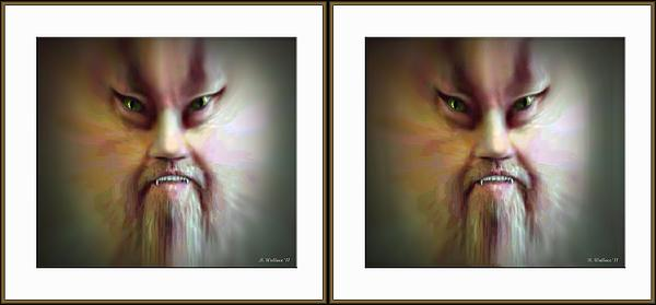 3d Photograph - Halloween Self Portrait - Gently Cross Your Eyes And Focus On The Middle Image by Brian Wallace