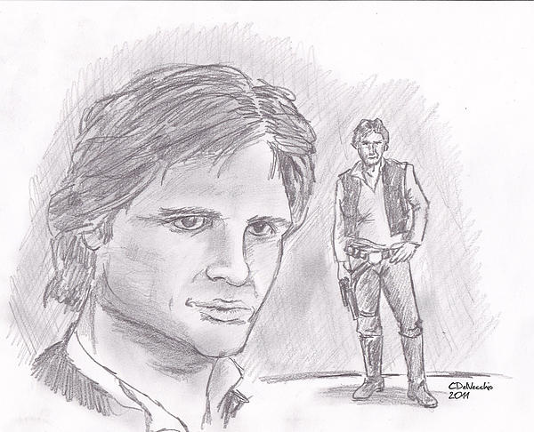 Drawing - Han Solo -space Pirate by Chris  DelVecchio