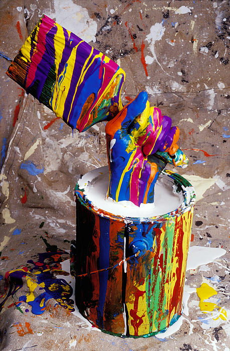 Hand Photograph - Hand Coming Out Of Paint Bucket by Garry Gay