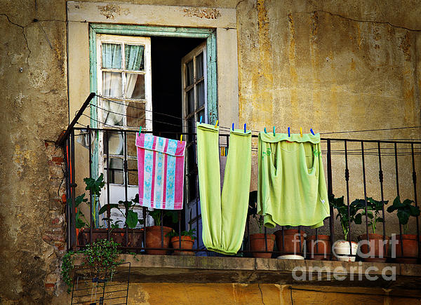 Aged Photograph - Hanged Clothes by Carlos Caetano