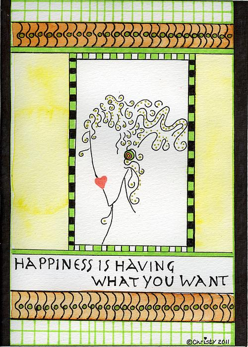 Lime Green Painting - Happiness by Christy Woodland