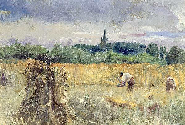 Harvest Field Painting - Harvest Field At Stratford Upon Avon by John William Inchbold