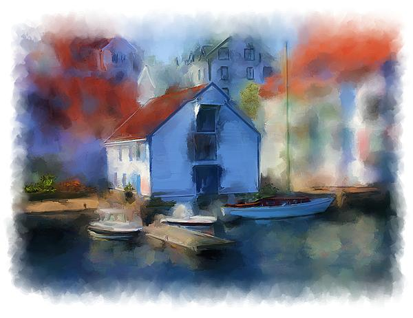 Haugesund Kai Painting - Haugesund Boat House by Michael Greenaway