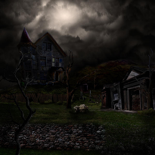 House Digital Art - Haunted House by Lisa Evans