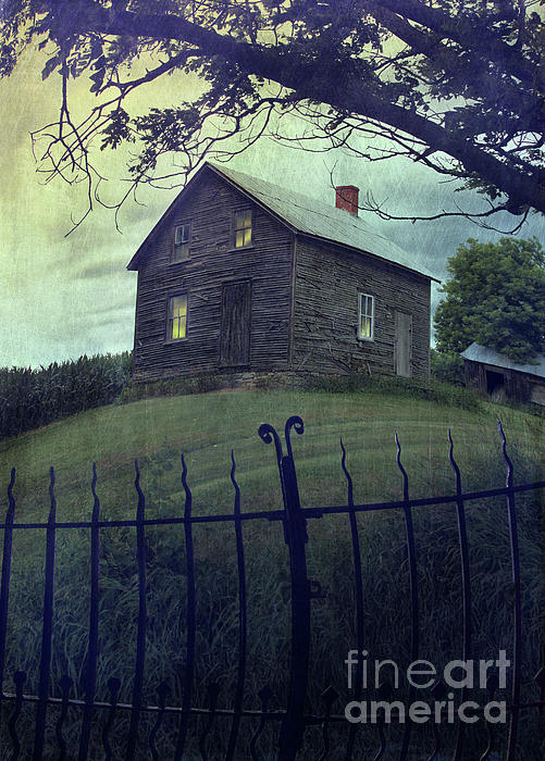Abandon Photograph - Haunted House On A Hill With Grunge Look by Sandra Cunningham