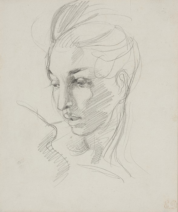 Head Drawing - Head Of Liberty  by Ferdinand Victor Eugene Delacroix