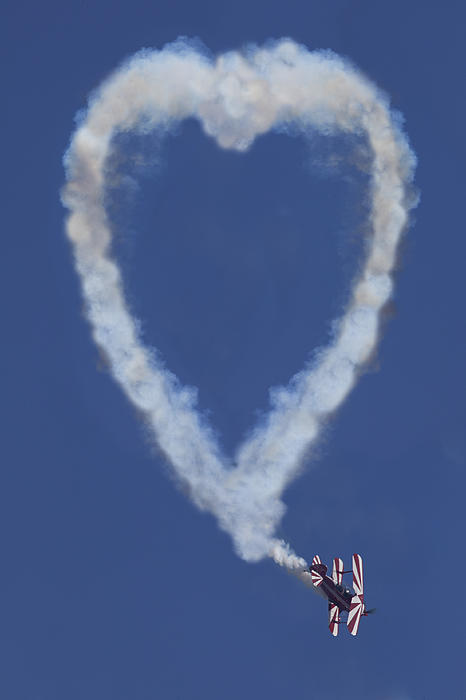 Plane Photograph - Heart Shape Smoke And Plane by Garry Gay