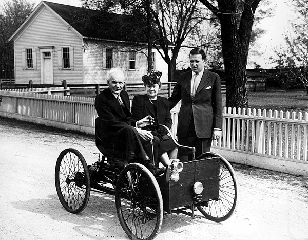 Automobile Photograph - Henry Ford In His First Automobile by Everett