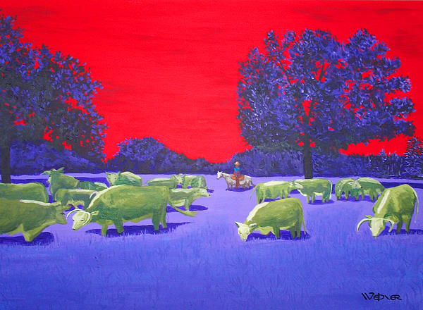 Landscape Painting - Hereford Herd by Randall Weidner