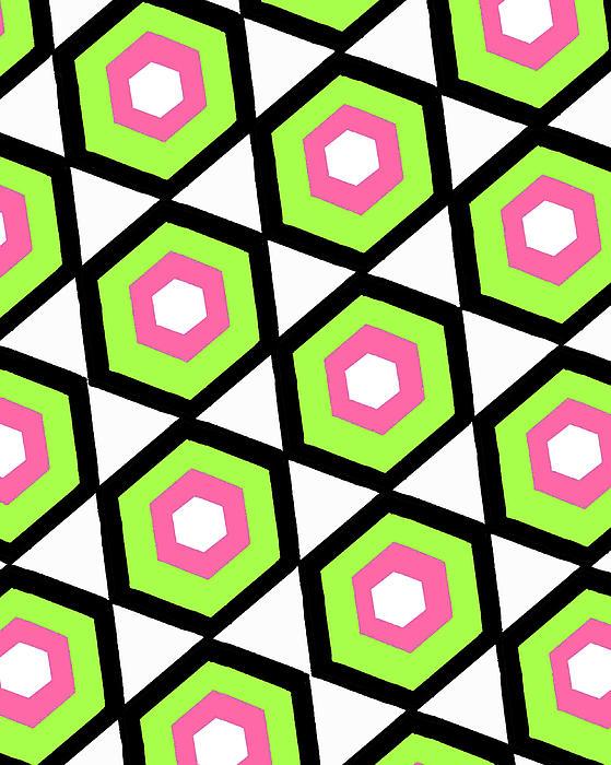 Louisa Digital Art - Hexagon by Louisa Knight