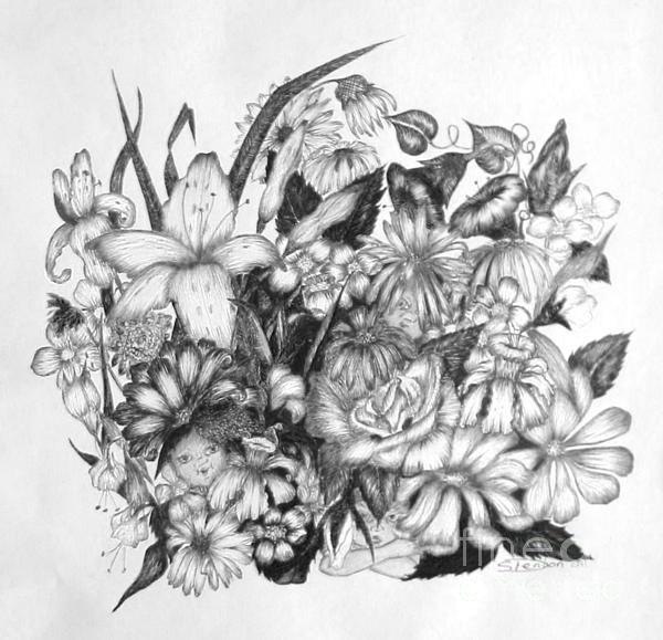 Elf Drawing - Hide And Seek by Sharon Denton