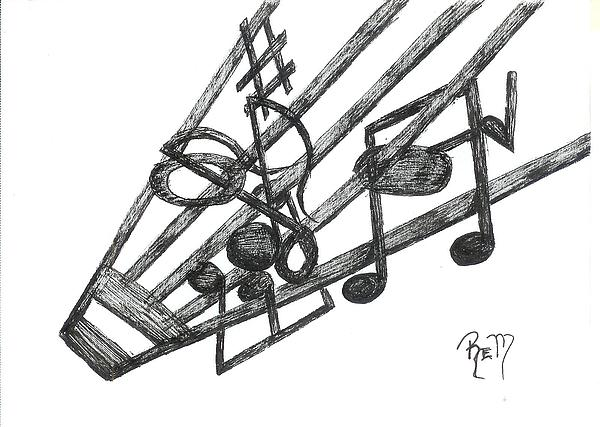 Music Drawing - Hiding Among The Notes - Sketch by Robert Meszaros