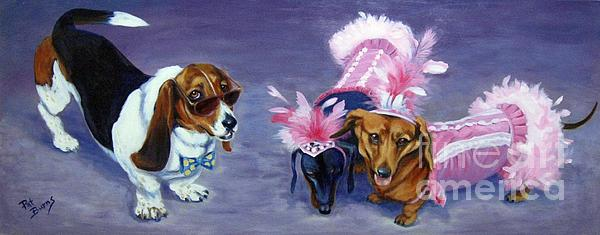 Dogs Painting - Highclass Hotdogs by Pat Burns
