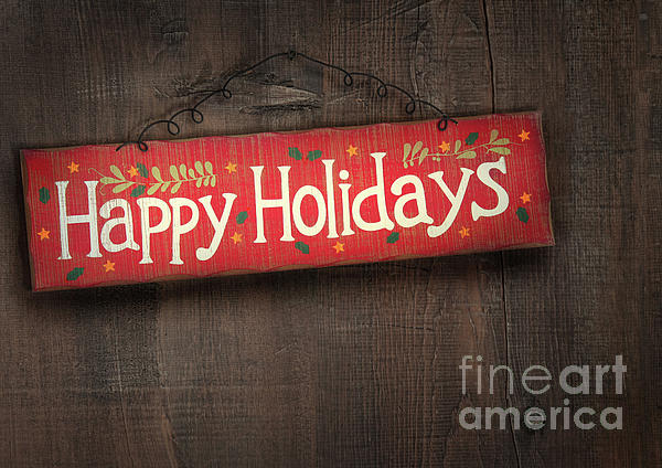 Abstract Photograph - Holiday Sign On Distressed Wood Wall by Sandra Cunningham