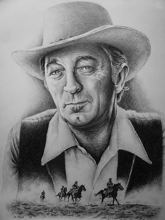 Robert Mitchum Drawing - Hollywood Greats -robert Mitchum by Andrew Read