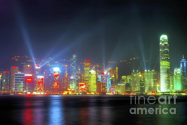 Hong Kong Photograph - Hong Kong Night Lights by Bibhash Chaudhuri
