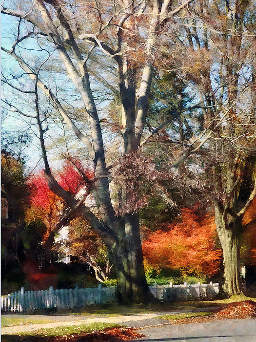 House Photograph - House With Picket Fence In Autumn by Susan Savad