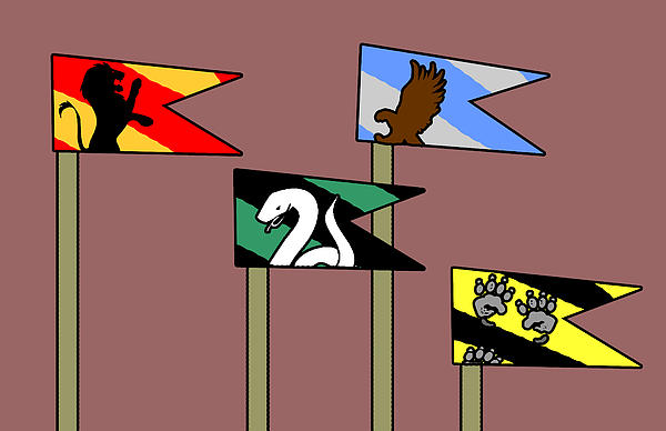 Harry Drawing - Hp House Flags by Jera Sky