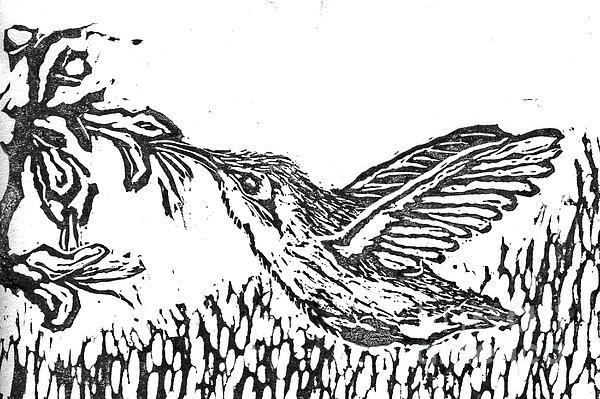 Lino Mixed Media - Hummingbird  Block Print by Ellen Miffitt