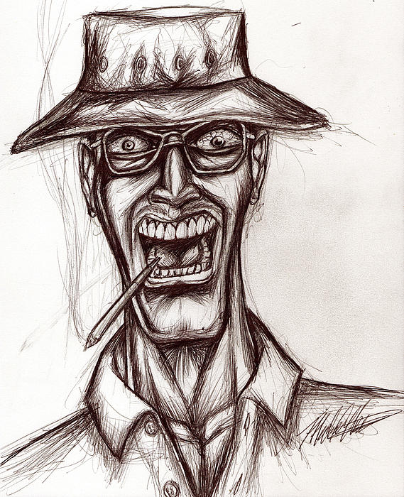 Hunter Drawing - Hunter S. Thompson by Michael Mestas