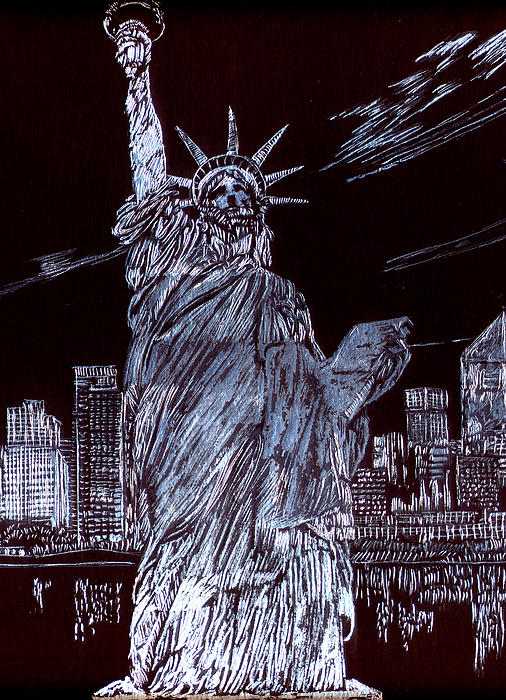 Cityscape Drawing - I Love Nyc by Saad Hasnain