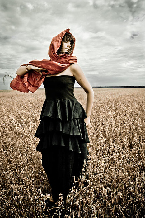 Women Photograph - In Mourning Red by Olga Leszczynska