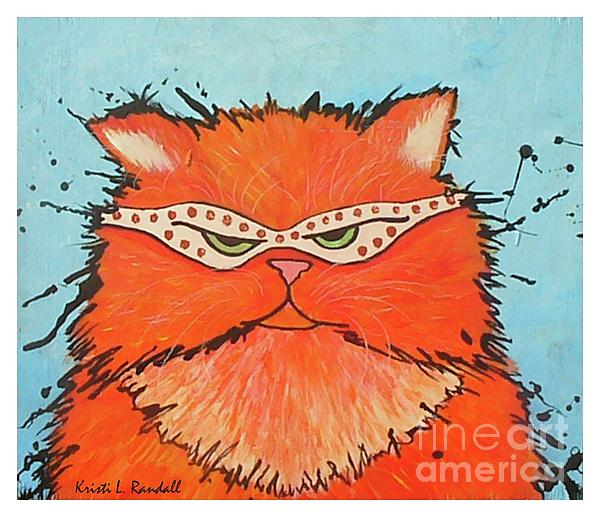 Fun Cat Painting - Incognito  by Kristi L Randall