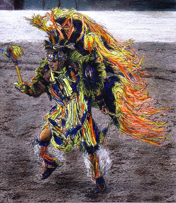Indian Mixed Media - Indian Dancer by Randy Sprout