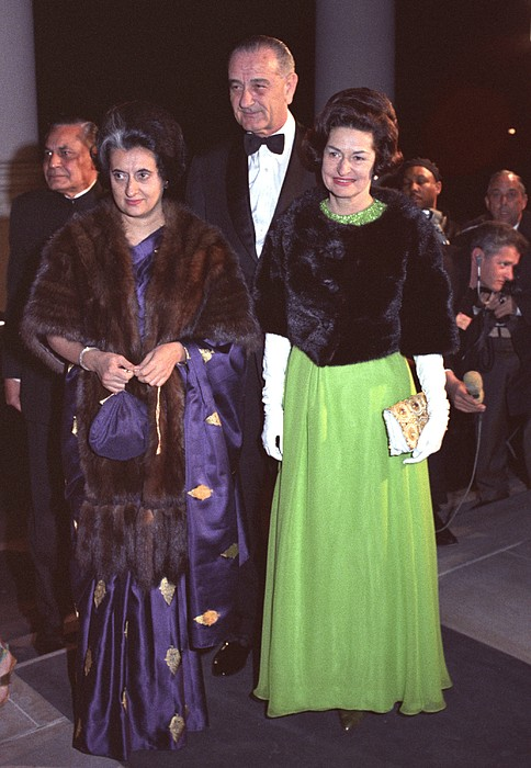History Photograph - Indira Gandhi With President And Lady by Everett