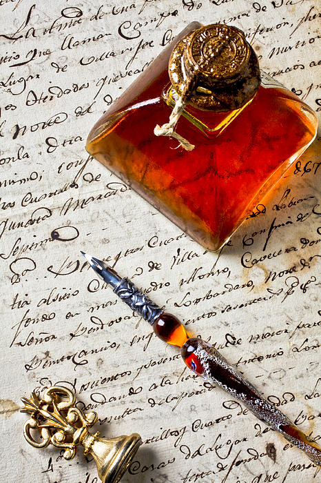 Letters Photograph - Ink Bottle And Pen  by Garry Gay