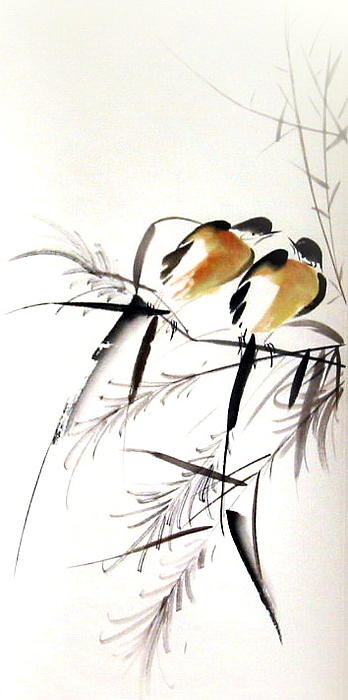 Bird Painting - Inseparable Couple by Ming Yeung