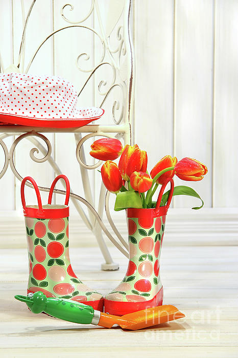 Beautiful Photograph - Iron Chair With Little Rain Boots And Tulips  by Sandra Cunningham