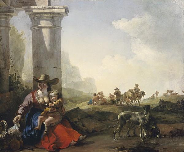Italian Painting - Italian Peasants Among Ruins by Jan Weenix