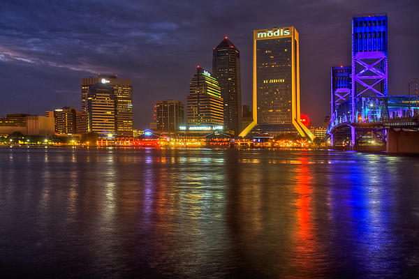 Clouds Photograph - Jacksonville At Night by Debra and Dave Vanderlaan